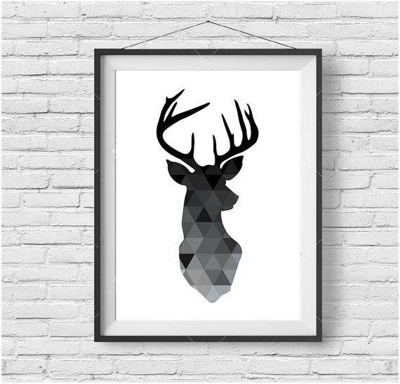 Geometric Deer Print Deer Head Poster Black Deer Wall Art Minimalist Print Geometric Printable Art Black and White Scandinavian Design