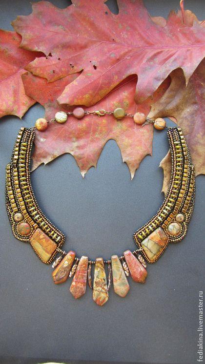 """Купить Колье""""Аромат пряной осени"""" - коричневый, осенние листья, осень, осеннее украшение, колье с камнями"""