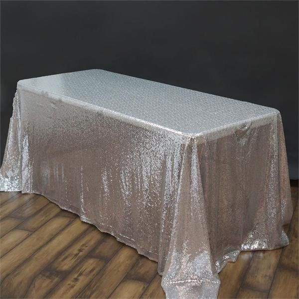 90x132 Silver Premium Sequin Rectangle Tablecloth With Images