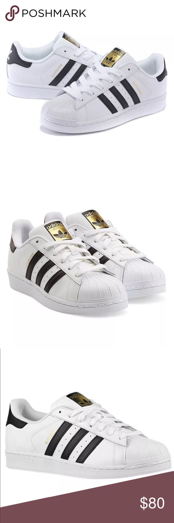 Sold on eBay Cute and stylish Brand new 2016 style Adidas Superstar  Original Black, White \u0026 Gold stripe sneakers size US women\u0027s 6.5-7.