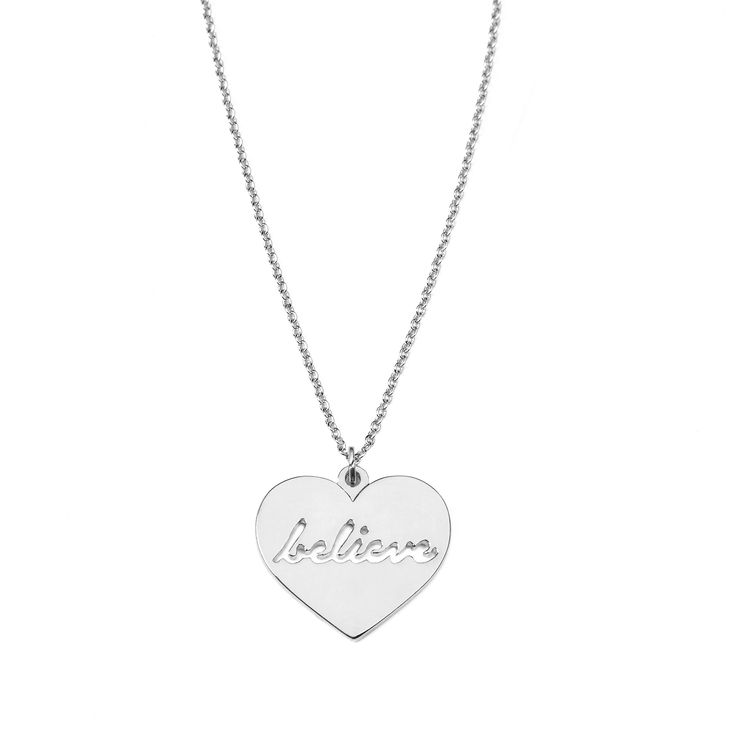 """Believe necklace - available in gold and silver. Get 25% off these earrings with code """"foxypin"""" http://www.foxyoriginals.com/Believe-Necklace-in-Silver.html  Tags: silver,  necklace, follow your heart, inspirational jewelry"""