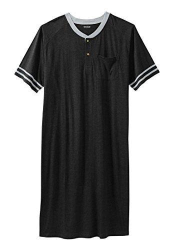 Kingsize Men's Big & Tall Short-Sleeve Henley Nightshirt - http://www.darrenblogs.com/2017/01/kingsize-mens-big-tall-short-sleeve-henley-nightshirt/