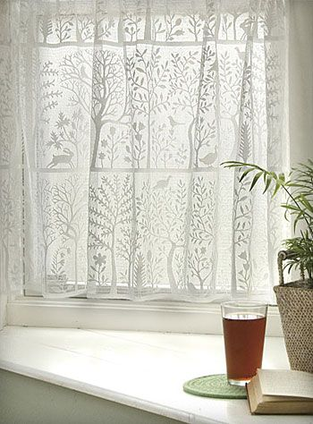 lace café curtains with a  mod forest scene.  if only my house had more windows...$59.00