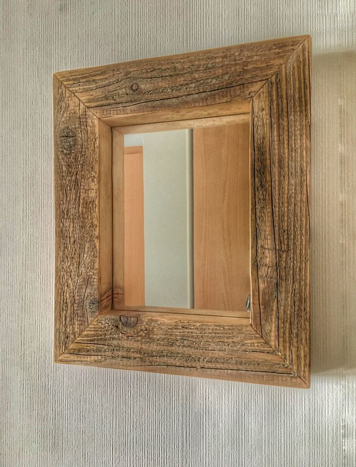 Mirror with old wood frame