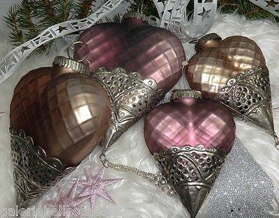 Glasherz lila od. rosa 2 Größen Weihnachtsschmuck Winter Weihnachten Metall Glas