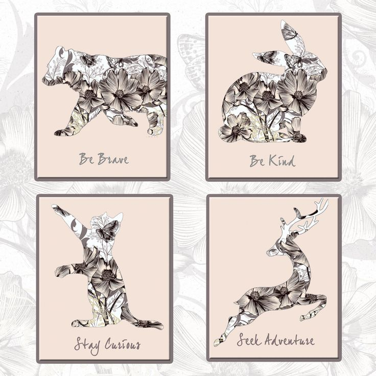 A personal favorite from my Etsy shop https://www.etsy.com/listing/545258941/nursery-print-set-cat-bear-rabbit-and