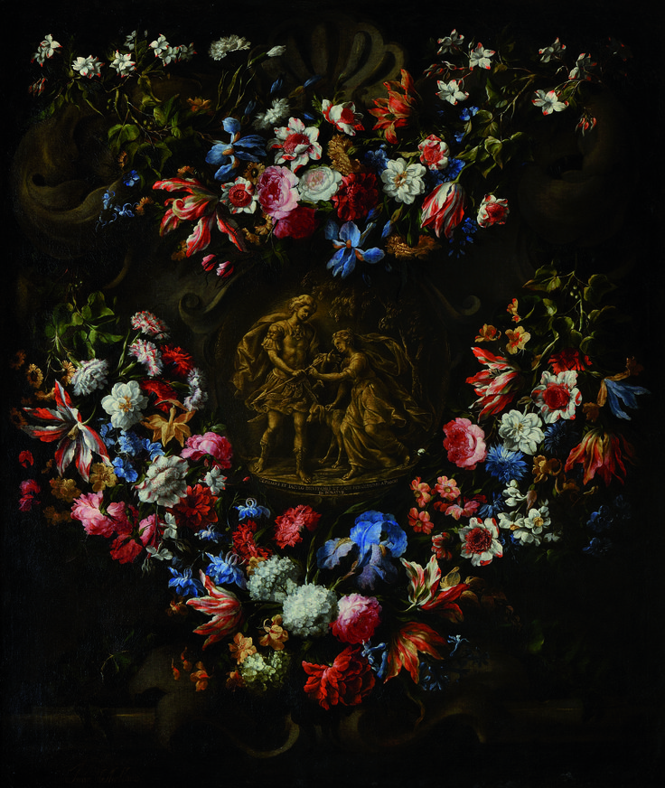 Paris Tableau 2014 opens next week! The Fair stages 'Three Collections, a single Passion', an exhibition of masterpieces from AXA Art, the Centraal Museum and the P. & N. De Boer Foundation.   One of two paintings with flower garlands and mythological scenes from Ovid's Metamorphoses by Juan de Arellano ( 1614 - 1676). The paintings have rarely been seen by the public. They are part of the AXA Group's collection preserved at the 18th century Hôtel de la Vaupalière in Paris.