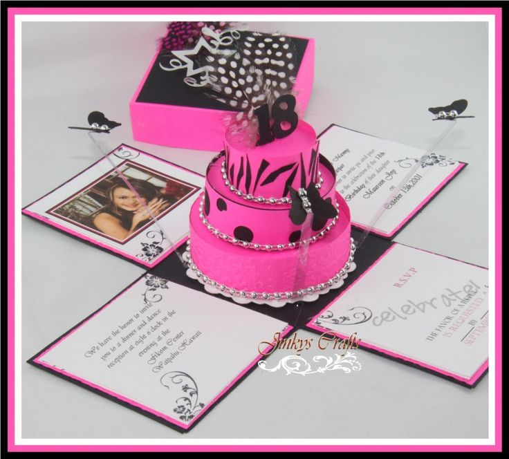 This Hot Pink & Black Exploding Box Invitation which I custom designed is one of JinkysCrafts Collections best sellers. It is a unique way to send out a message of your upcoming party. It is great for Quincenera /Mis XV/15th Birthday invites, Sweet 16th, 18th Birthday/Debut, Wedding invitations, Anniversary invitations or any theme party.