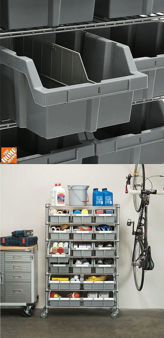"""Here's an advanced storage solution for the garage, craft room, office or classroom. """"This 7-shelf bin rack is exactly what my wife needed to sort out her craft and sewing supplies. It was beyond simple to assemble (took about 15-20 minutes and no tools) and it has really good locking wheels."""" -Home Depot customer Donald"""