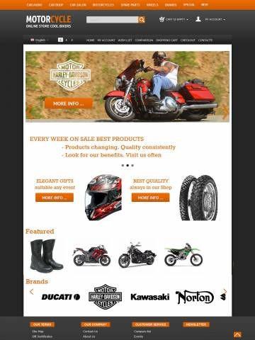 OpenCart Theme Template Compatible OpenCart 1.5.6 version     For desktop, planshet, mobile     Choice of 3.6 Million Colors     Modern Technology HTML5 CSS3 Bootstrap     28 Content Selector  Template properties:  Opencart Responsive Mega Color Template oc000067 is specially for shops selling Motorcycles
