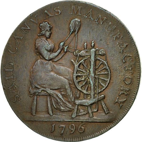 Coin, Nice Britain, Devon, Halfpenny Token, 1796, Plymouth, AU(50-53), Copper