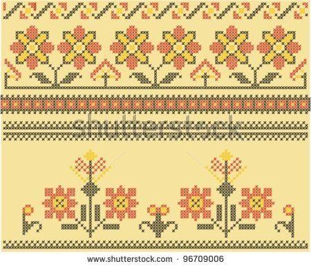 stock vector : Sets of ethnic cross stitch romanian flourish pattern
