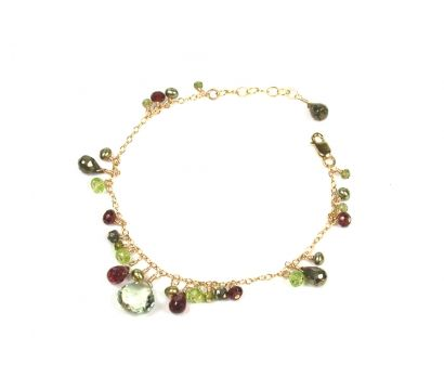 14ct gold filled cluster bracelet with Green Amethyst, Pyrite, Garnet, Peridot beads and cultured fresh water pearls. http://www.mounir.co.uk/collections/clustered_gems/5098_green_amethyst_mix_bracelet