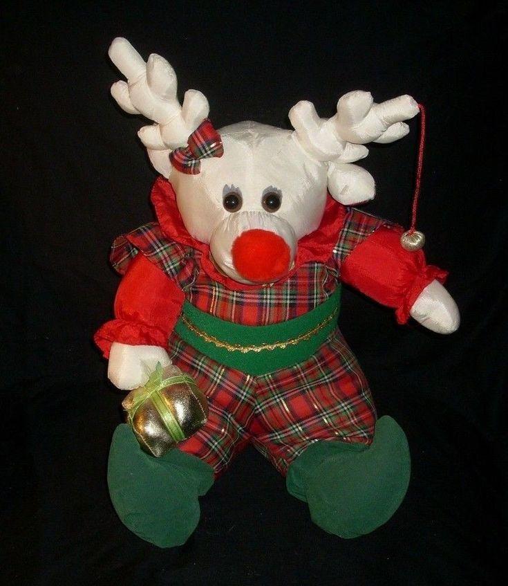 "17"" VINTAGE INTL SILVER CHRISTMAS NYLON WHITE REINDEER STUFFED ANIMAL PLUSH TOY"