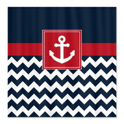 Nautical Shower Curtain-Navy and White Chevron-Brick Red Anchor-Customize with colors of your choice-Standard & Extra long sizes available $78.00