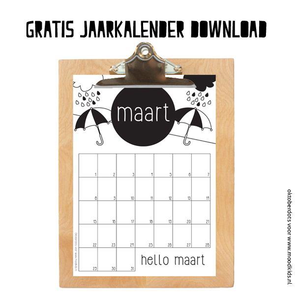 Deze maandkalender gratis printen? Dat kan! Kijk ook even bij de andere maandkalenders van OktoberDots voor een tijdloze jaarkalender hebt.