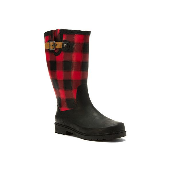 Chooka Lumber Buffalo Plaid ($70) ❤ liked on Polyvore featuring shoes, boots, red, chooka, red shoes, red boots, chooka shoes and chooka boots