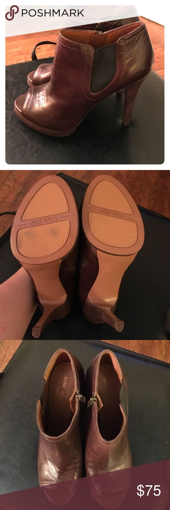 Hot pair of chocolate peep toe booties w/side zip! I wish I could wear these, but my feet are too wide! Ordered them online, wore them around my apartment and could never get comfortable in them. Mint condition, never worn but around my apartment once. Nine West Shoes Ankle Boots & Booties