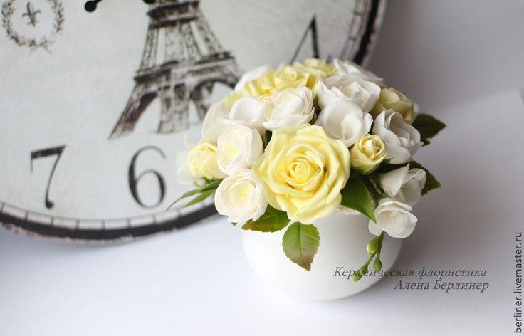 Купить Букет для милой дамы. - разноцветный, розы, розы ручной работы, розы из полимерной глины