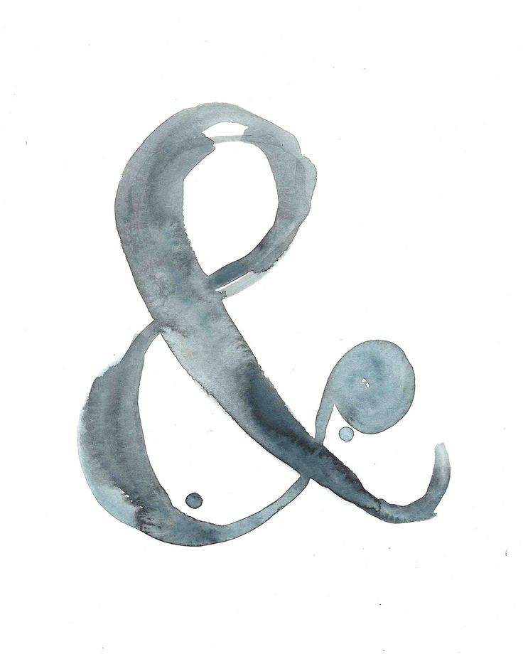 "Ampersand Print - Watercolor & - Print from my Original Illustration - 8""x10"" - Calamari Studio - gallery wall or library"