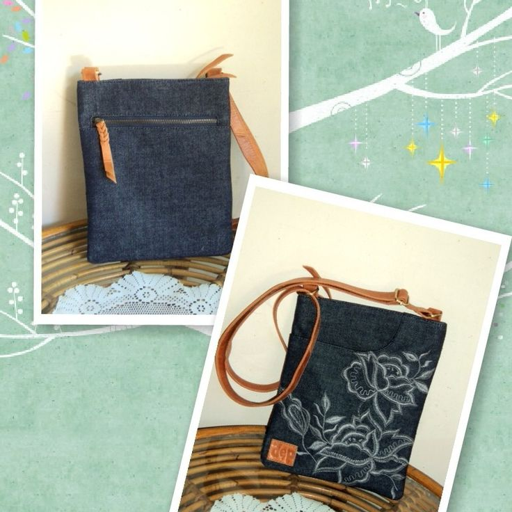 d`ep bag,leather and embroidery,fab:denim,sale