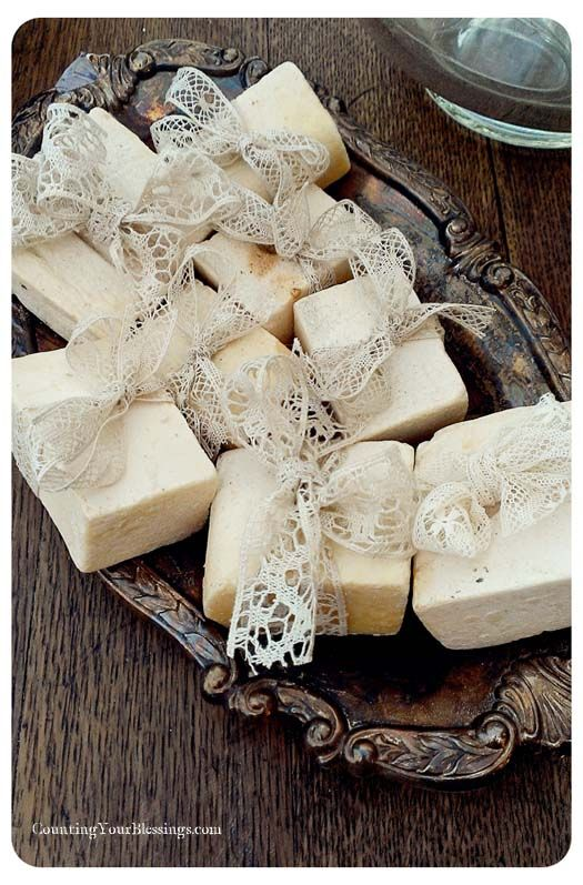 ❥ Soap tied w/lace on tarnished silver tray~love the contrast~