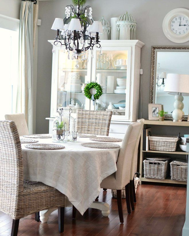 Neutral Dining Room With Farmhouse Decor Love The White Painted Hutch And So Many Lovely