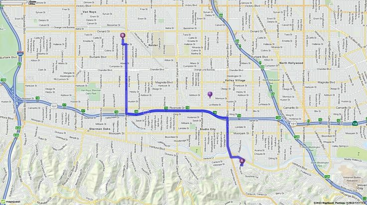 Driving Directions from 11869 Laurelwood Dr, Studio City, California 91604 to Van Nuys, California 91401 | MapQuest