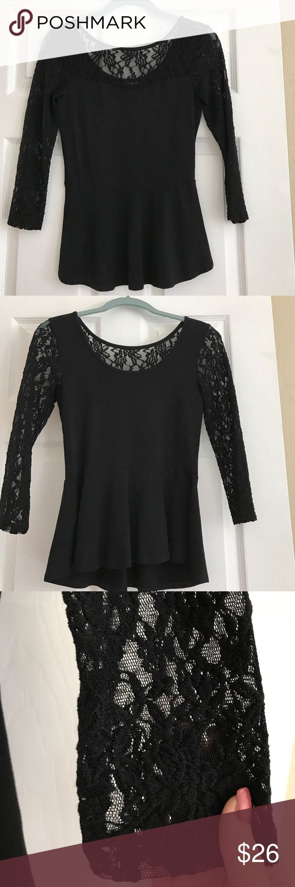 Lace Peplum Top NWOT / Sexy Black Lace/ Slimming Peplum Blouse Tops
