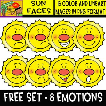This is a great clipart freebie which offers a set with 8 suns showing 8 different emotions : angry - bored - excited - happy - puzzled - sad - silly - surprised This set comes in color and lineart version in png format!!! ************************** CREDITS: ************************** Terms of Use