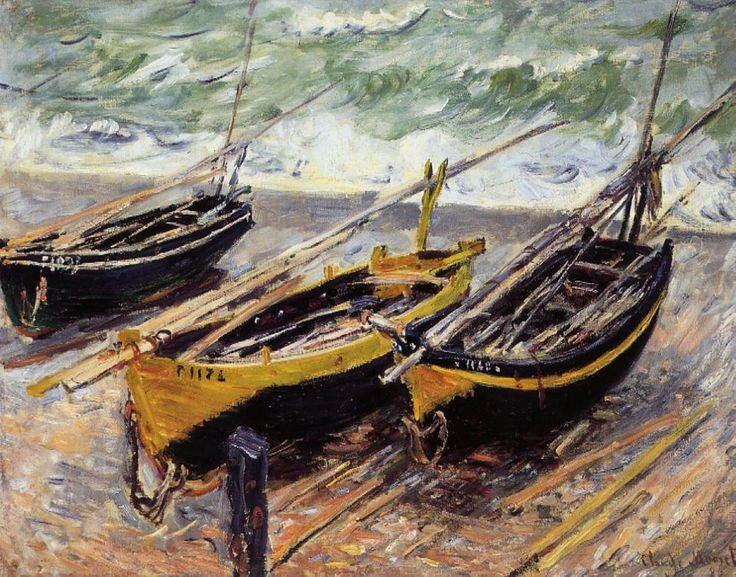 """Claude Monet,  """"Three Fishing Boats"""", 1885; Theses """"caïques"""" are clinker-built three-masted luggers, the last boats in France to make daily  use of the old rig with mizzen, topsail, jib, dipping main & foresail; the tack of the foresail is at the end of the bowsprit. A sailboat astonishingly similar to the Devon Beer lugger."""
