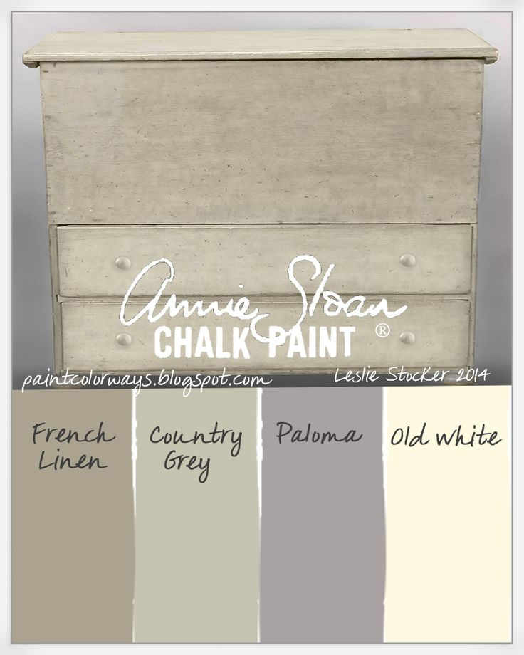COLORWAYS A combination of Annie Sloan Chalk Paint® neutrals: French Linen, Country Grey, Old White with touches of Paloma on vintage pine blanket chest.