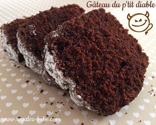 Gâteau du p'tit diable au chocolat - une recette de Régalez Bébé. Un gâteau au cacao tout léger pour bébé ! C'est la recette de notre délicieux gâteau du p'tit diable au chocolat. Tendre, Léger et Moelleux à souhait ! Voilà une recette ultra rapide, facile et délicieuse à faire pour petit et grand gourmand.