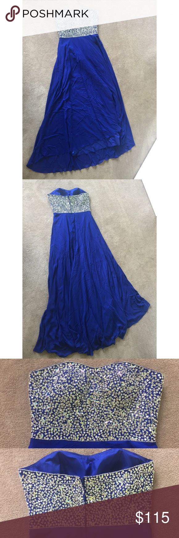 NWOT Royal Blue A-Line prom / winter ball dress Selling this beautiful royal blue dress, perfect for prom or any kind of ball. I bought it from a prom website in 2015 for $180. Prom was cancelled and I couldn't return it so it's basically brand new, just slightly wrinkled because it was laying in a storage chest but could easily been ironed. Doesn't fit me anymore so I was only able to take a picture holding up the dress. Dress size says 16W but definitely runs small, would fit someone with…