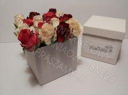 Box Flowers, Pudełko na kwiaty białe, karbowane