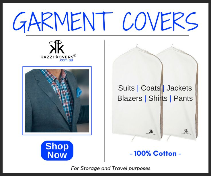 Mens Garment Bags for suits, jackets and coats. 100% Cotton. Breathable. Acid-free and lightweight. For travel and storage purposes.