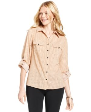Ny Collection Petite Top, Three-Quarter-Sleeve Polka-Dot Cotton Shirt - Tan/Beige P/XS