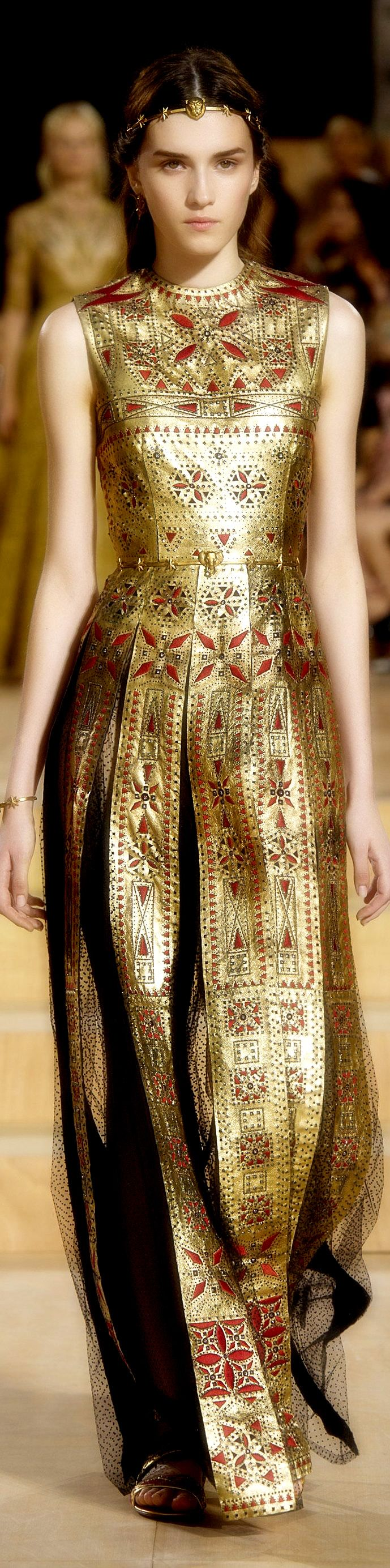 Valentino ~ Red Embellished Gold Metalic Gown, Fall 2015