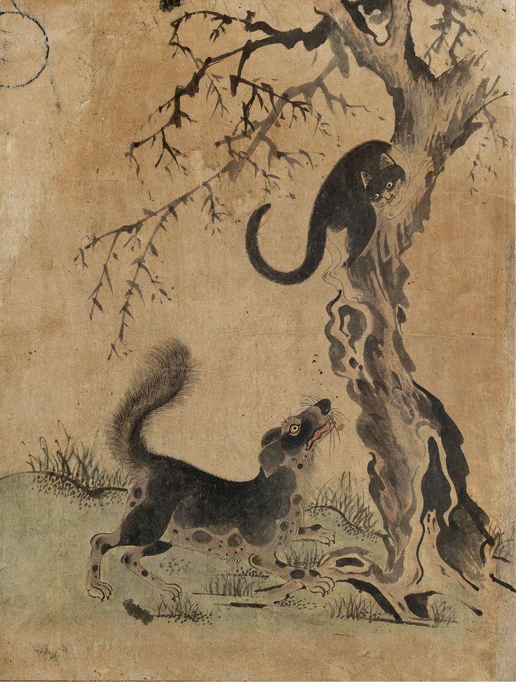 Dog Treeing a Cat; Joseon dynasty, 19th century