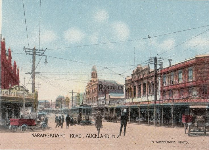 Karangahape Road, Auckland, N.Z. Photo by H. Winkelmann. From the  Souvenir Folder of Auckland, N.Z. Published by Tanner Bros. Ltd., Wellington, New Zealand & London.