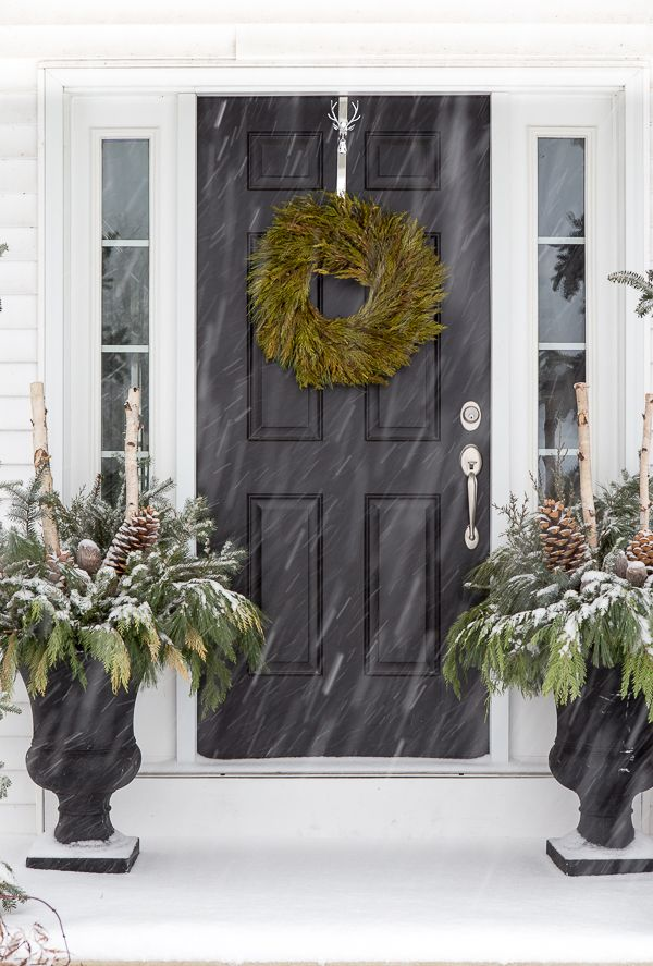 This Green Wreath From Homegoods Adds A Pop Of Color In Winter Snow Storm Sponsored Pin Home Sweet Pinterest Christmas Houses