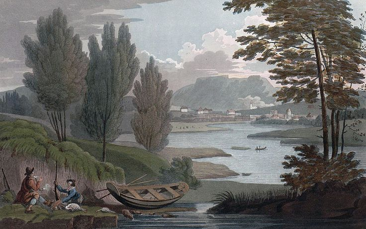 """Distant View of Skeen (JW Edy plate 37). English: """"Distant View of Skeen"""" Norsk bokmål: «Skeen, i en afstand» Drawing by John William Edy (1760-1820) from his journey along the coast of Norway during the summer of 1800. Published in Boydell's picturesque scenery of Norway in 1820."""