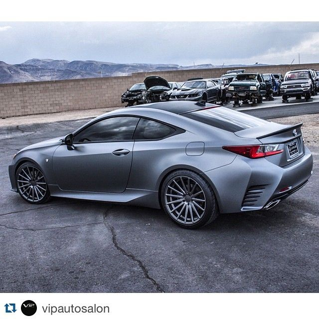 Lexus RC 350 F Sport wrapped in  938 matte graphite lowered on @rsrusa Down Springs and sitting on @vossen VFS2.  ______________________________________  #lexus #lexususa #lexusrc #fs