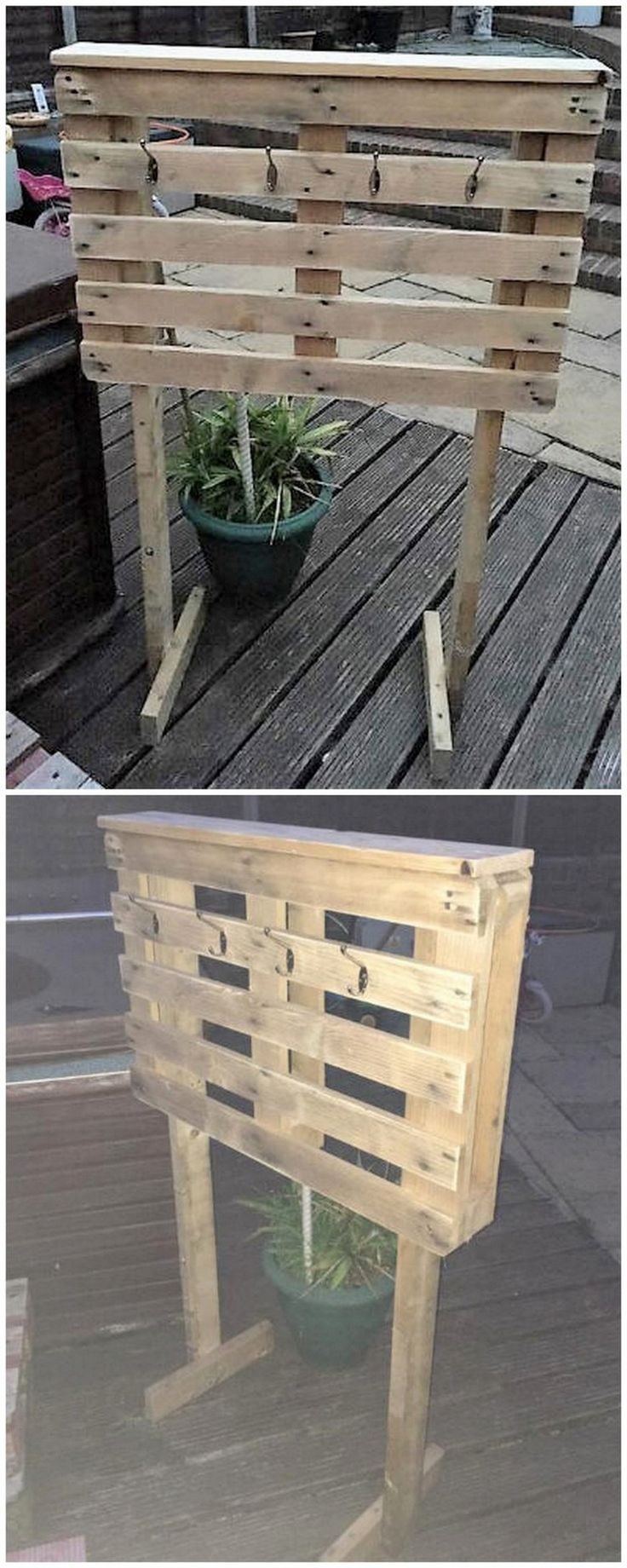 If you have a swimming pool huge area in your house garden then you should also be well maintained with all important accessories of swimming pool. Place a simple created wood pallet towel rack stand by the side of the swimming pool for the helping hand of your friends.