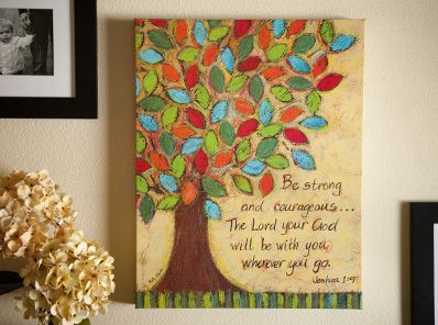 canvas: Oil Paintings, Canvas Prints, Wraps Canvas, Art, Wrapped Canvas, Trees, Bible Verses, Joshua 1 9, Be Strong