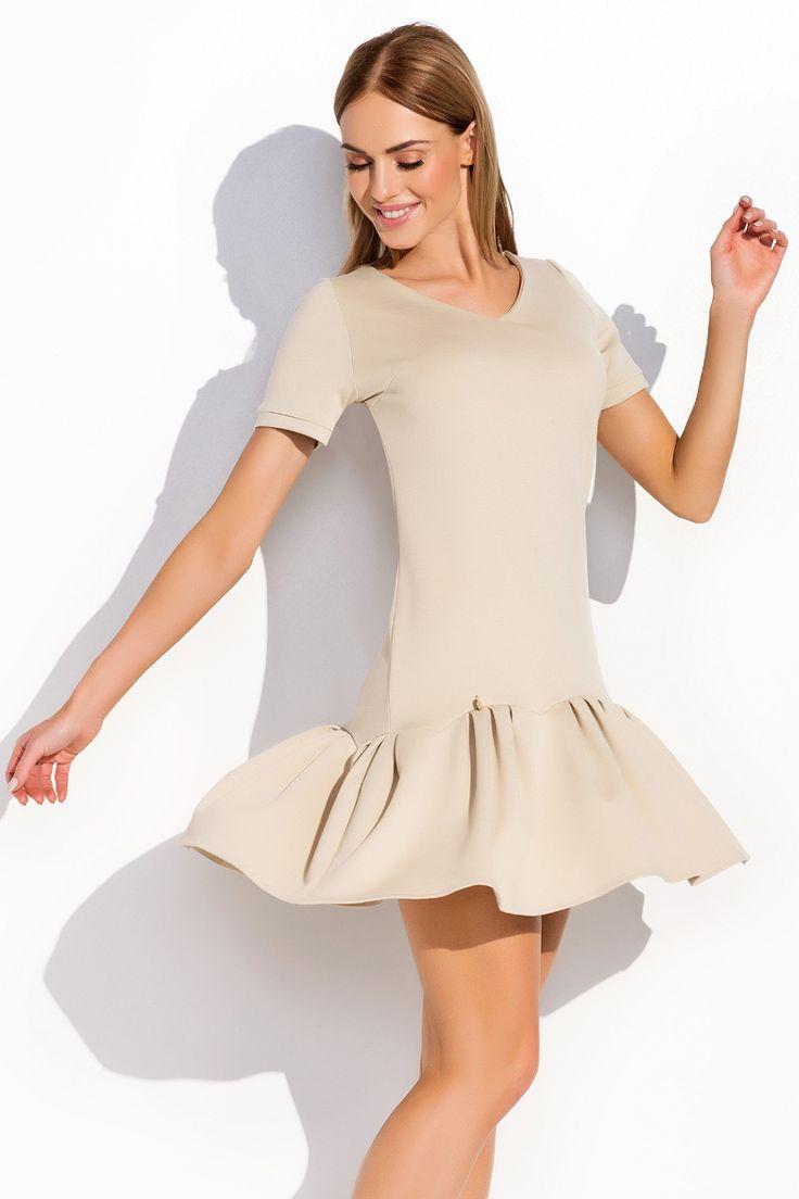 Dziewczęca sukienka falbanka beżowa