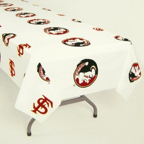 """NCAA Florida State Seminoles (FSU) White Team Logo 54"""" x 108"""" Plastic Tablecover by Football Fanatics. $6.53. Approximately 54"""" x 108"""". Team logo and colors. Heavy duty tablecover. Made of durable plastic. Florida State Seminoles (FSU) White Team Logo 54"""" x 108"""" Plastic TablecoverMade in the USAApproximately 54"""" x 108""""Heavy duty tablecoverTeam logo and colorsMade of durable plasticOfficially licensed collegiate productHeavy duty tablecoverTeam logo and colorsMa..."""