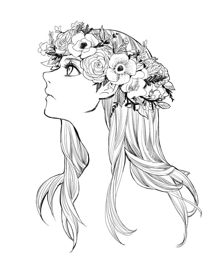 Flower Head Line Drawing : Flowercrown by zoo chan viantart on deviantart b