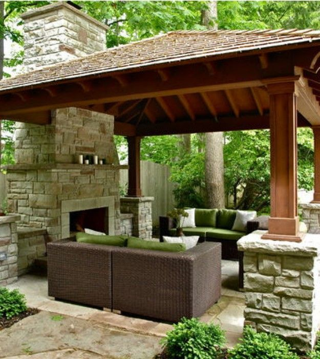 125 best garden yard pergolas gezebo images on pinterest for Outdoor gazebo plans with fireplace