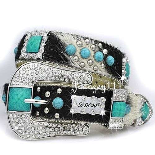 BHW Western TURQUOISE Hair LEATHER Rhinestone Cowgirl Belt Bling Women Plus Size #BHW